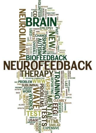 Neurofeedback therapy word cloud of related terms